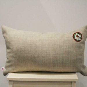 Lniana poduszka z rudzikiem