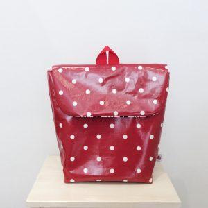 Plecak czerwony w groszki