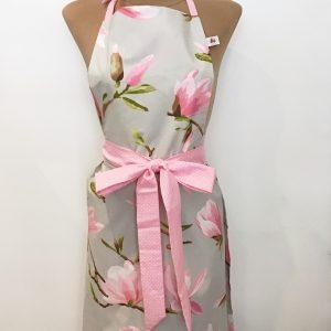 Apron grey with magnolias
