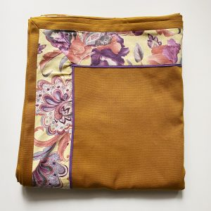 Mustard tablecloth with purple